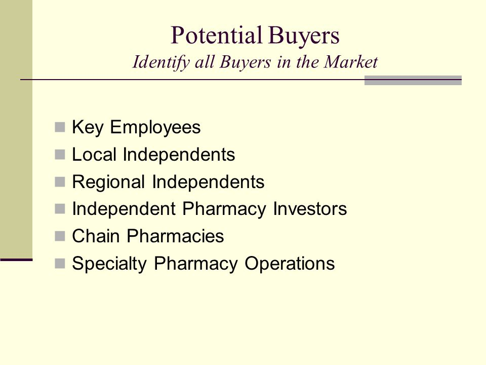 Potential Buyers Identify all Buyers in the Market Key Employees Local Independents Regional Independents Independent Pharmacy Investors Chain Pharmac