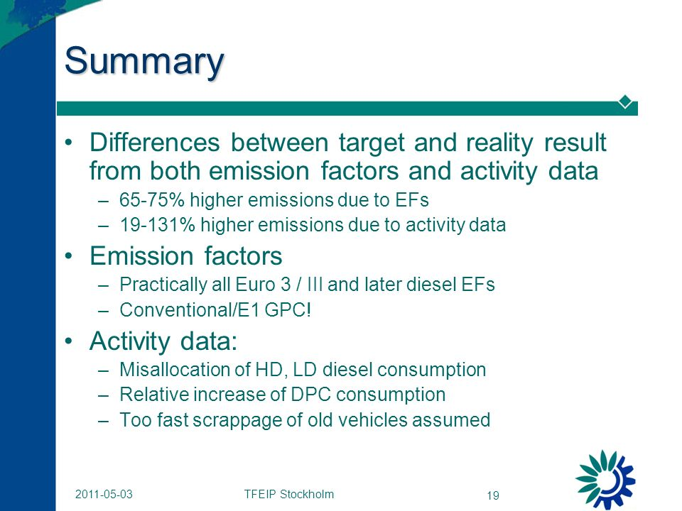 TFEIP Stockholm 19 2011-05-03 Summary Differences between target and reality result from both emission factors and activity data –65-75% higher emissions due to EFs –19-131% higher emissions due to activity data Emission factors –Practically all Euro 3 / III and later diesel EFs –Conventional/E1 GPC.