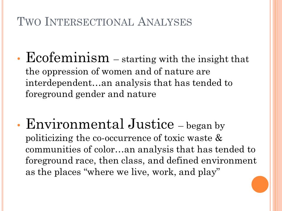 T WO I NTERSECTIONAL A NALYSES Ecofeminism – starting with the insight that the oppression of women and of nature are interdependent…an analysis that has tended to foreground gender and nature Environmental Justice – began by politicizing the co-occurrence of toxic waste & communities of color…an analysis that has tended to foreground race, then class, and defined environment as the places where we live, work, and play