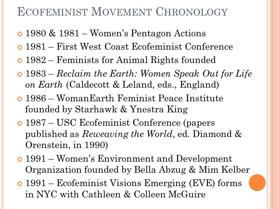 E COFEMINIST M OVEMENT C HRONOLOGY 1980 & 1981 – Womens Pentagon Actions 1981 – First West Coast Ecofeminist Conference 1982 – Feminists for Animal Rights founded 1983 – Reclaim the Earth: Women Speak Out for Life on Earth (Caldecott & Leland, eds., England) 1986 – WomanEarth Feminist Peace Institute founded by Starhawk & Ynestra King 1987 – USC Ecofeminist Conference (papers published as Reweaving the World, ed.