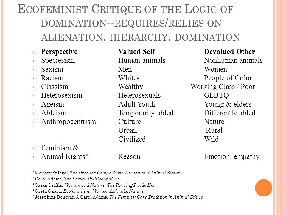 E COFEMINIST C RITIQUE OF THE L OGIC OF DOMINATION -- REQUIRES / RELIES ON ALIENATION, HIERARCHY, DOMINATION PerspectiveValued SelfDevalued Other SpeciesismHuman animalsNonhuman animals SexismMenWomen RacismWhitesPeople of Color ClassismWealthy Working Class / Poor HeterosexismHeterosexualsGLBTQ AgeismAdult YouthYoung & elders AbleismTemporarily abledDifferently abled AnthropocentrismCultureNature Urban Rural CivilizedWild Feminism & Animal Rights*ReasonEmotion, empathy *Marjory Spiegel, The Dreaded Comparison: Human and Animal Slavery *Carol Adams, The Sexual Politics of Meat *Susan Griffin, Woman and Nature: The Roaring Inside Her *Greta Gaard, Ecofeminism: Women, Animals, Nature *Josephine Donovan & Carol Adams, The Feminist Care Tradition in Animal Ethics