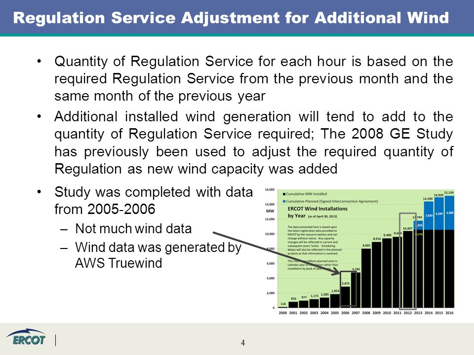 4 Quantity of Regulation Service for each hour is based on the required Regulation Service from the previous month and the same month of the previous year Additional installed wind generation will tend to add to the quantity of Regulation Service required; The 2008 GE Study has previously been used to adjust the required quantity of Regulation as new wind capacity was added Study was completed with data from 2005-2006 –Not much wind data –Wind data was generated by AWS Truewind Regulation Service Adjustment for Additional Wind
