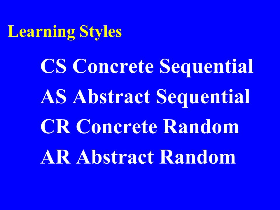 Learning Styles CS Concrete Sequential AS Abstract Sequential CR Concrete Random AR Abstract Random