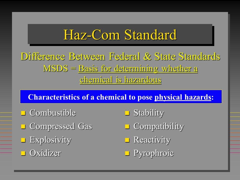 HAZCOMHAZCOM n Written Haz-Com Program n Hazard Determination, Chemical Inventory n Material Safety Data Sheets The Hazard Communication Standard Requires: MSDS
