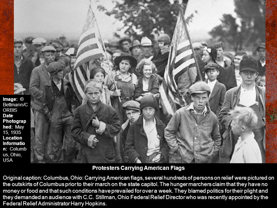 Protesters Carrying American Flags Original caption: Columbus, Ohio: Carrying American flags, several hundreds of persons on relief were pictured on t