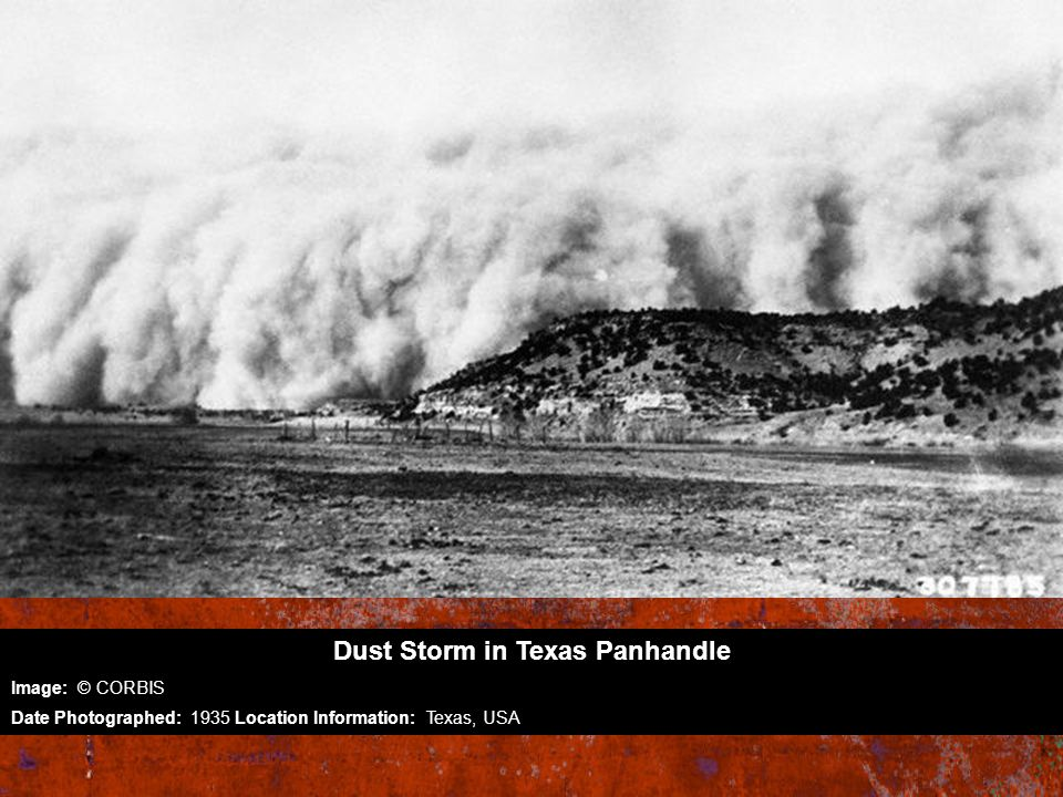 Dust Storm in Texas Panhandle Image: © CORBIS Date Photographed: 1935 Location Information: Texas, USA
