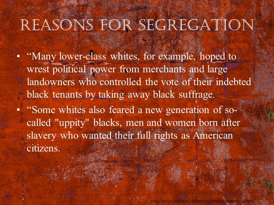Reasons for Segregation Many lower-class whites, for example, hoped to wrest political power from merchants and large landowners who controlled the vo