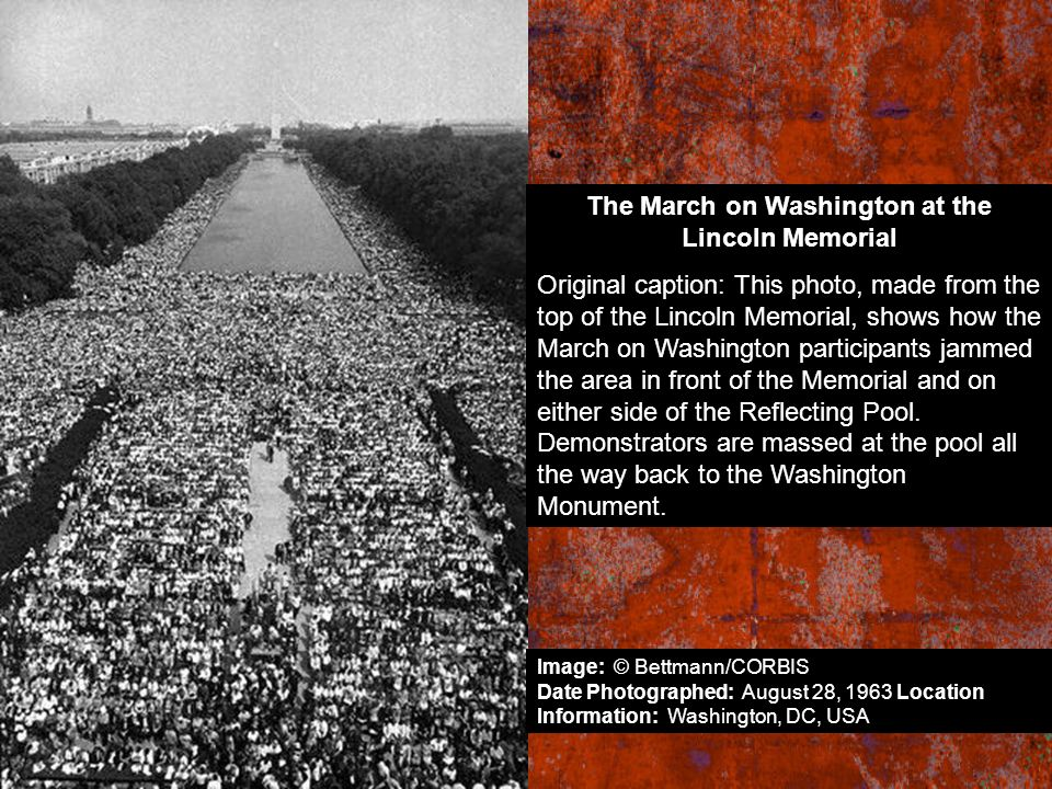 The March on Washington at the Lincoln Memorial Original caption: This photo, made from the top of the Lincoln Memorial, shows how the March on Washin