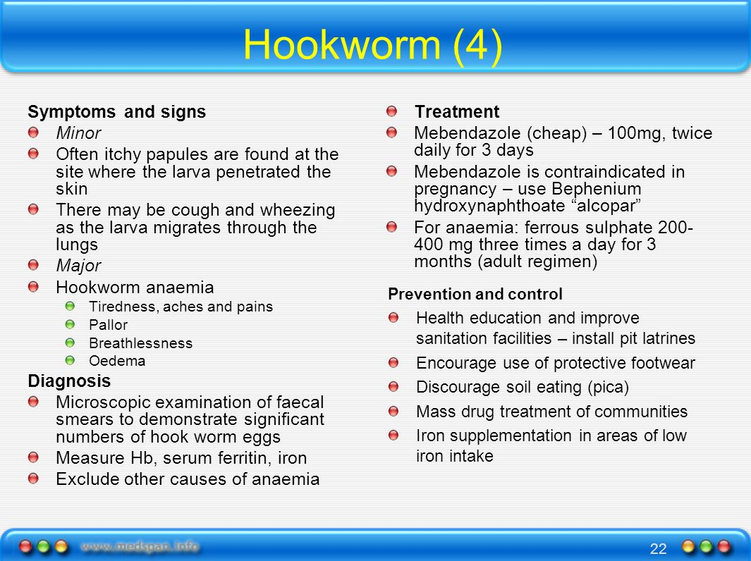 22 Hookworm (4) Symptoms and signs Minor Often itchy papules are found at the site where the larva penetrated the skin There may be cough and wheezing