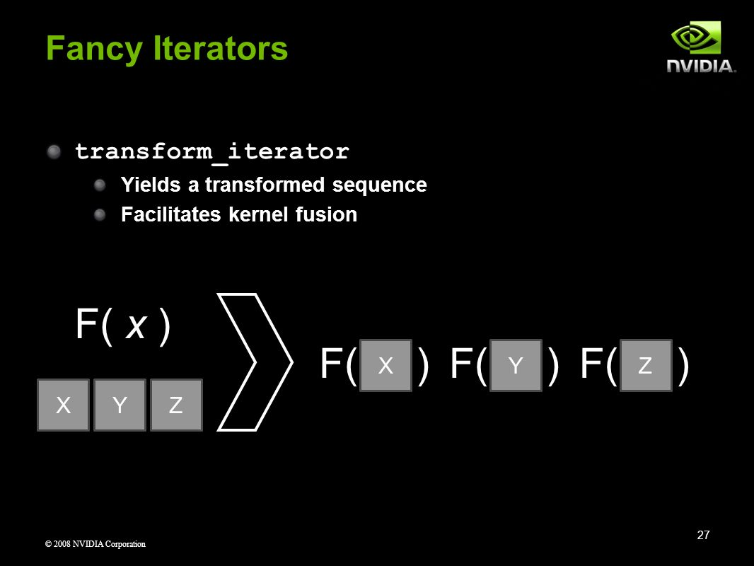 © 2008 NVIDIA Corporation F( ) transform_iterator Yields a transformed sequence Facilitates kernel fusion Fancy Iterators 27 X XYZ F( x ) F( ) YZ