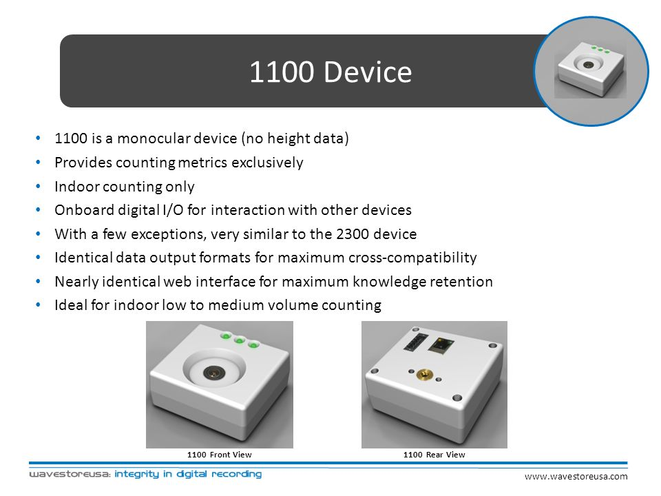 1100 Device 1100 is a monocular device (no height data) Provides counting metrics exclusively Indoor counting only Onboard digital I/O for interaction