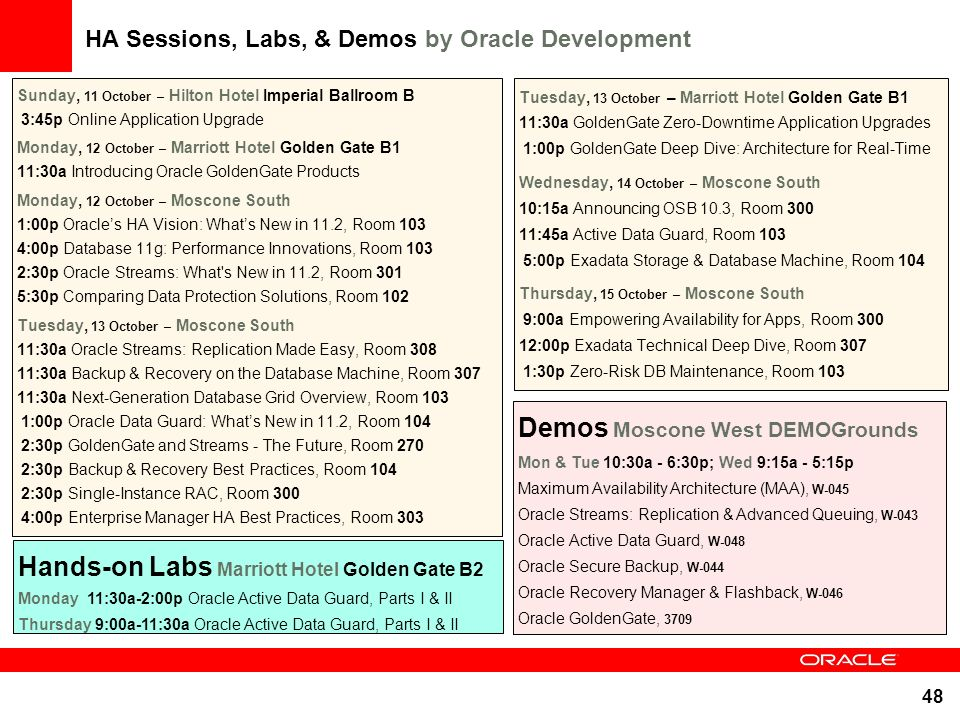 48 HA Sessions, Labs, & Demos by Oracle Development Sunday, 11 October – Hilton Hotel Imperial Ballroom B 3:45p Online Application Upgrade Monday, 12