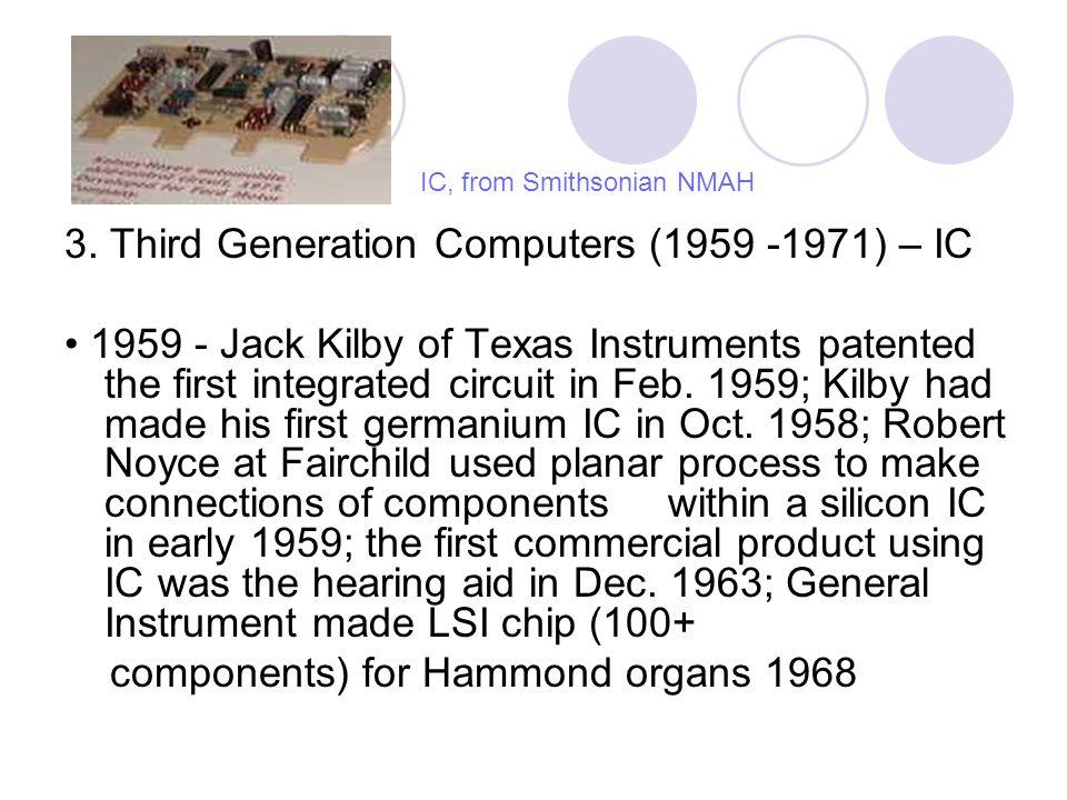 4.Fourth Generation (1971-Present) – microprocessor 1971 - Gilbert Hyatt at Micro Computer Co.