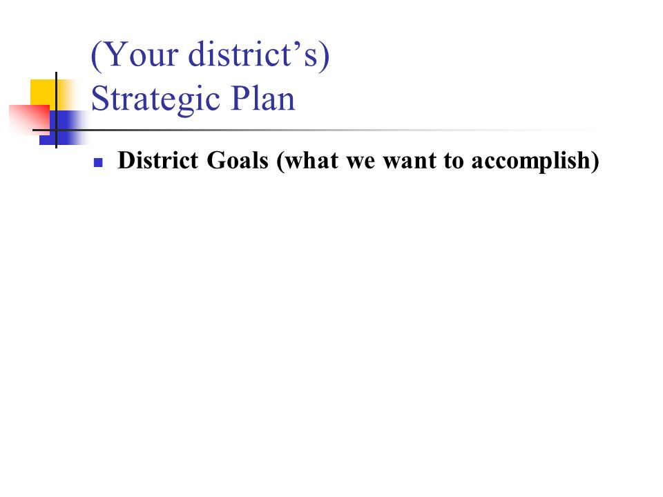 (Your districts) Strategic Plan District Goals (what we want to accomplish)