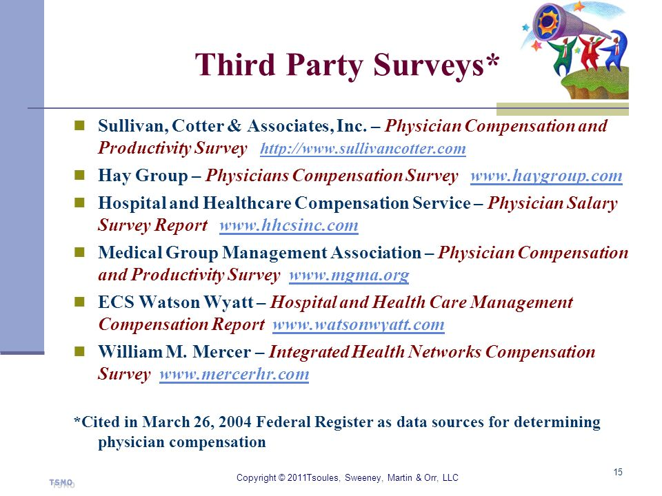 Third Party Surveys* Sullivan, Cotter & Associates, Inc. – Physician Compensation and Productivity Survey http://www.sullivancotter.com http://www.sul