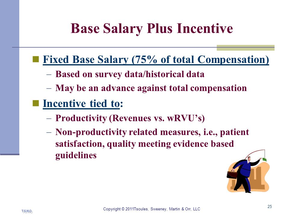 Base Salary Plus Incentive Fixed Base Salary (75% of total Compensation) Based on survey data/historical data May be an advance against total compensa