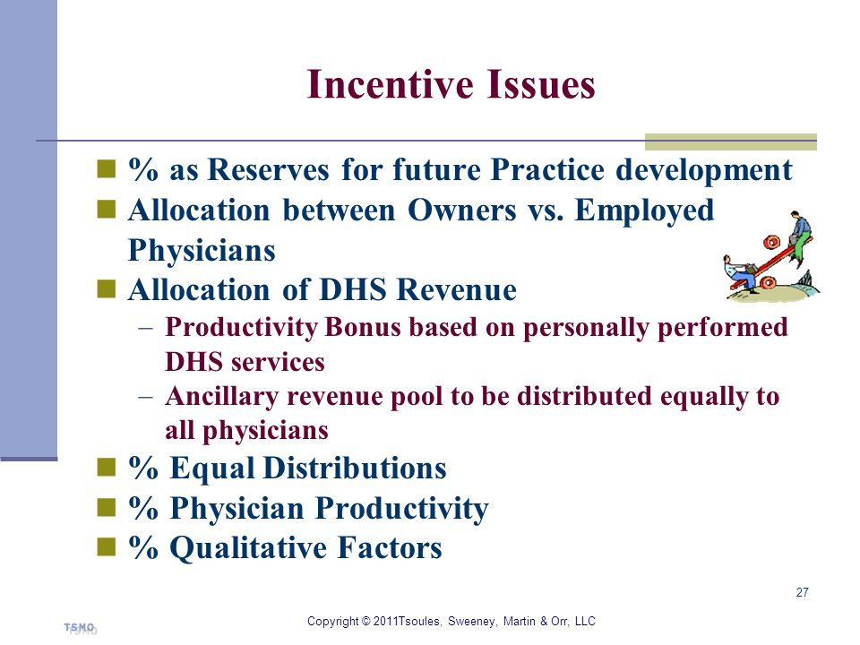 Incentive Issues % as Reserves for future Practice development Allocation between Owners vs. Employed Physicians Allocation of DHS Revenue Productivit