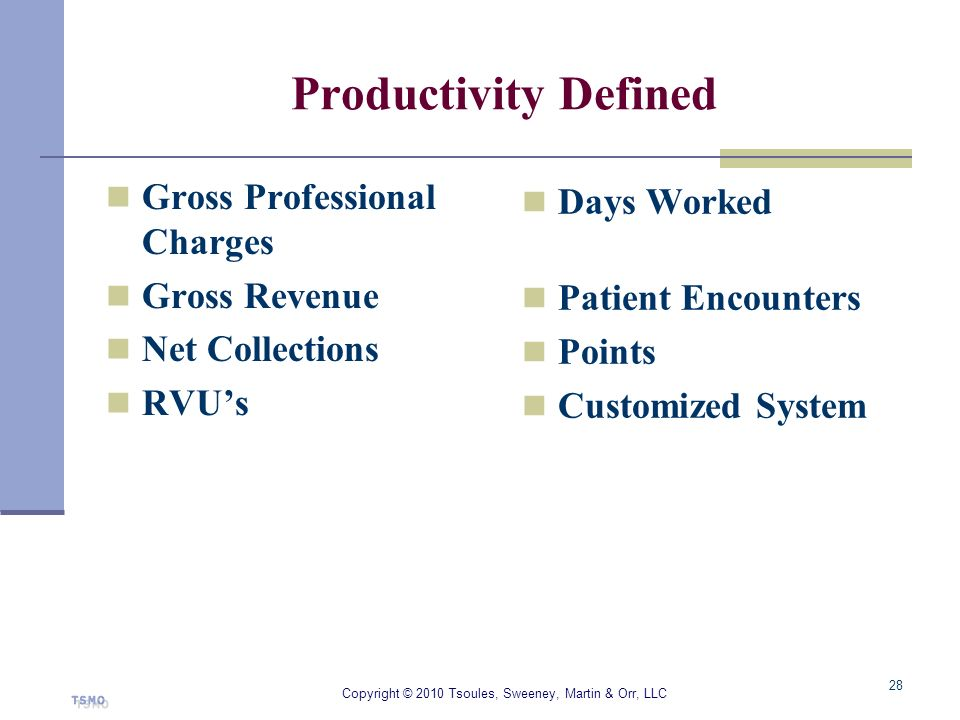 Productivity Defined Gross Professional Charges Gross Revenue Net Collections RVUs Days Worked Patient Encounters Points Customized System Copyright ©