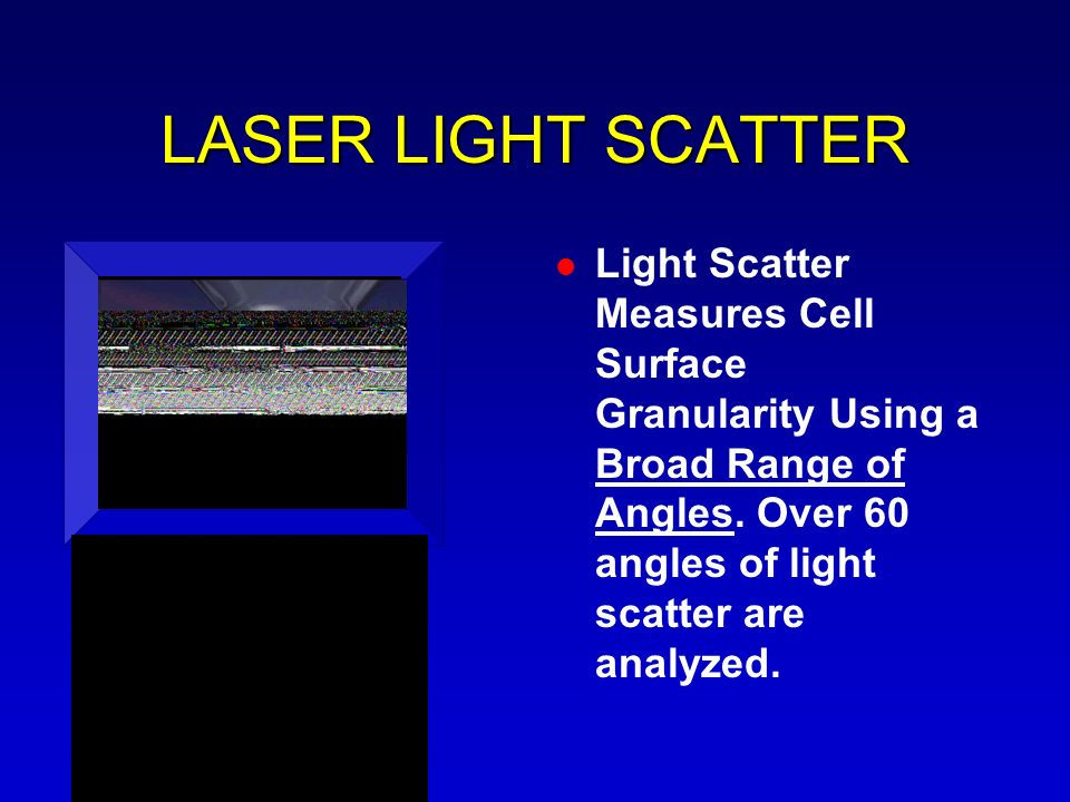 LASER LIGHT SCATTER Light Scatter Measures Cell Surface Granularity Using a Broad Range of Angles. Over 60 angles of light scatter are analyzed.