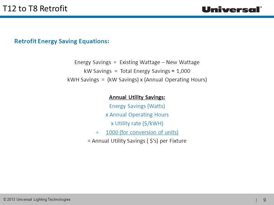 | 10 © 2013 Universal Lighting Technologies Retrofit Savings Calculation Maximize energy savings by not over-lighting an area.