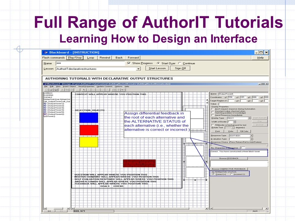 Full Range of AuthorIT Tutorials Learning How to Design an Interface