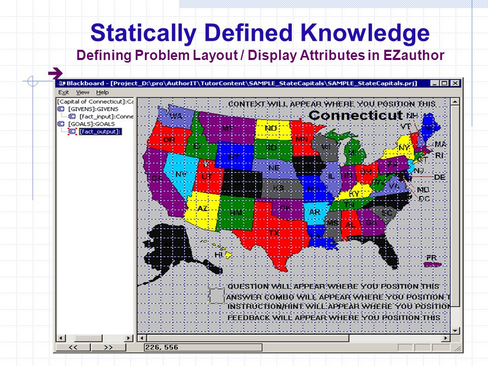 Statically Defined Knowledge Defining Problem Layout / Display Attributes in EZauthor