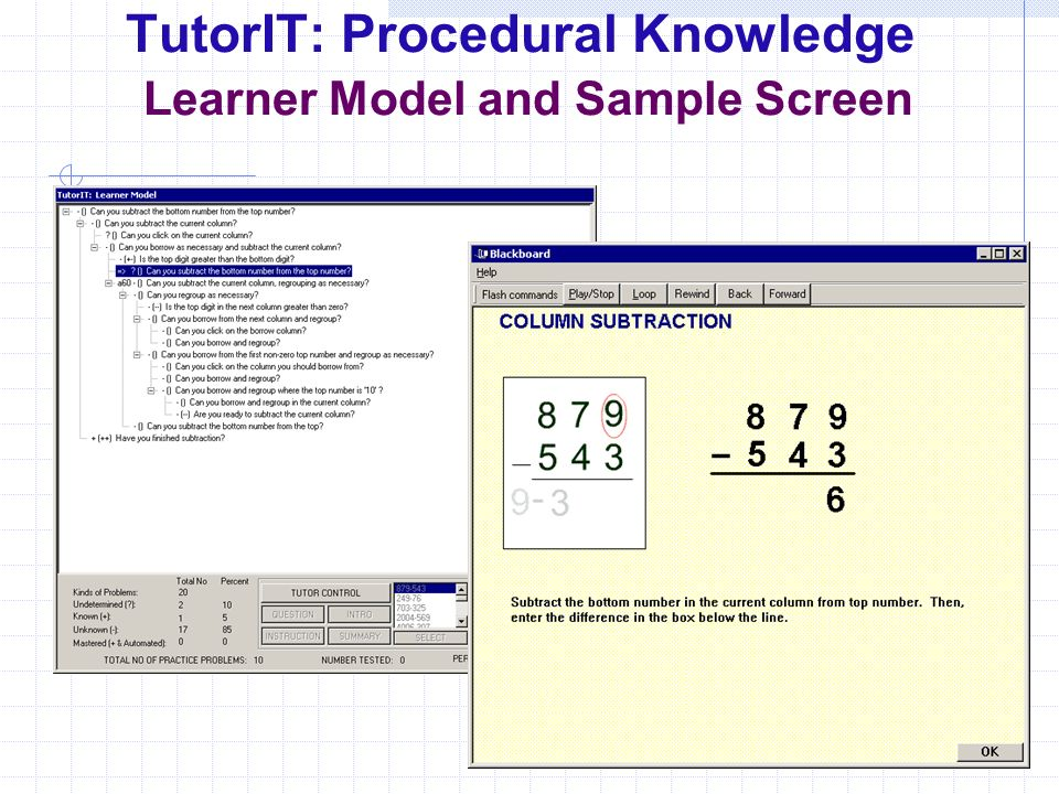TutorIT: Procedural Knowledge Learner Model and Sample Screen