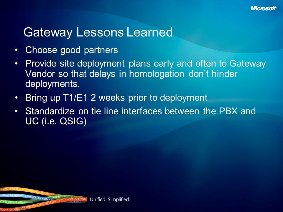 Microsoft Confidential Gateway Lessons Learned Choose good partners Provide site deployment plans early and often to Gateway Vendor so that delays in