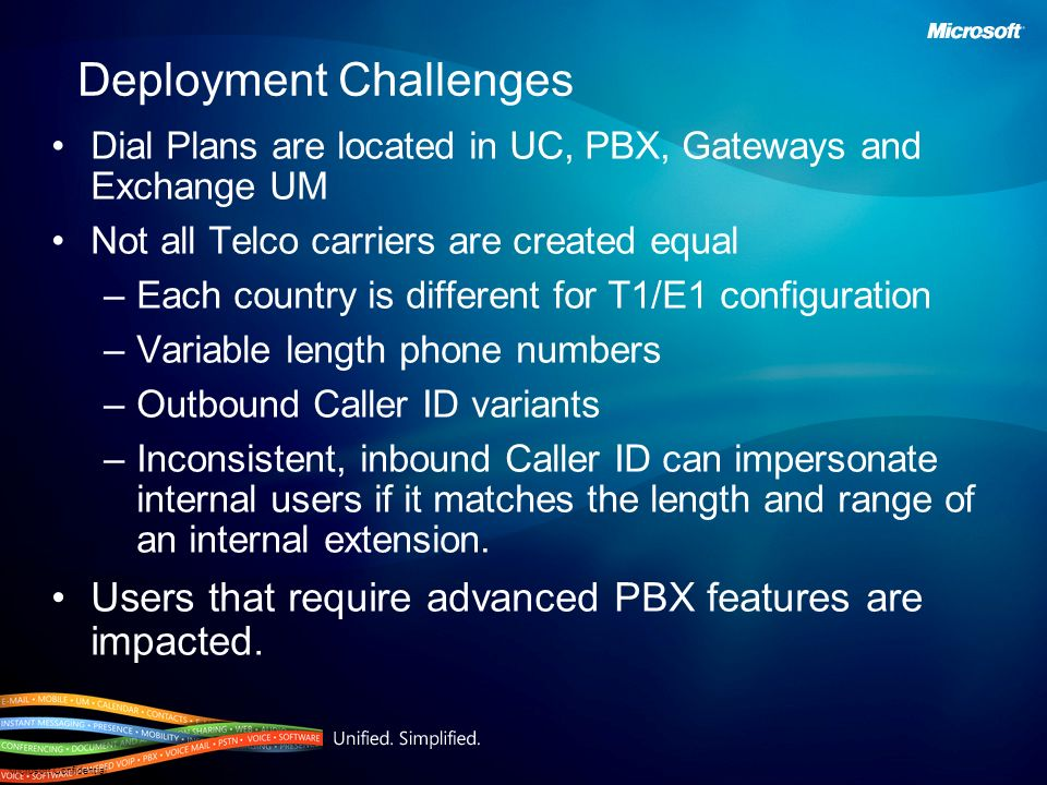 Microsoft Confidential Deployment Challenges Dial Plans are located in UC, PBX, Gateways and Exchange UM Not all Telco carriers are created equal –Eac