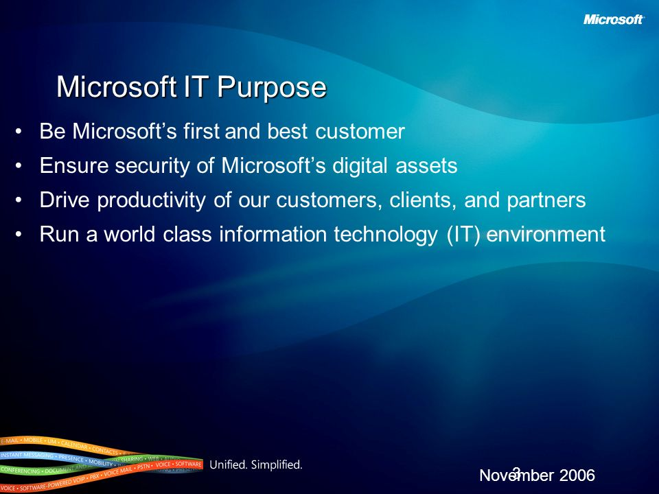 Microsoft IT Purpose Be Microsofts first and best customer Ensure security of Microsofts digital assets Drive productivity of our customers, clients,