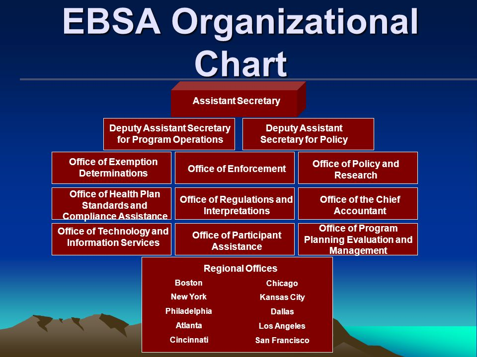 EBSA Organizational Chart Office of the Chief Accountant Deputy Assistant Secretary for Policy Office of Exemption Determinations Office of Enforcemen