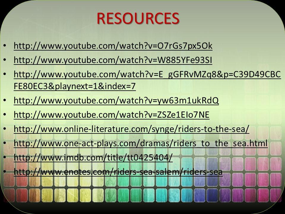 RESOURCES http://www.youtube.com/watch?v=O7rGs7px5Ok http://www.youtube.com/watch?v=W885YFe93SI http://www.youtube.com/watch?v=E_gGFRvMZq8&p=C39D49CBC