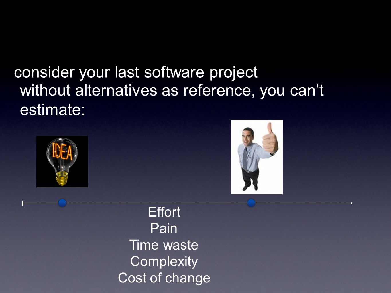 without alternatives as reference, you cant estimate: Effort Pain Time waste Complexity Cost of change consider your last software project