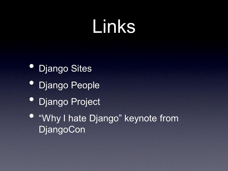 Links Django Sites Django People Django Project Why I hate Django keynote from DjangoCon