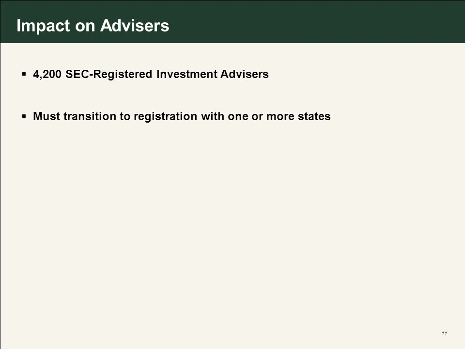11 Impact on Advisers 4,200 SEC-Registered Investment Advisers Must transition to registration with one or more states