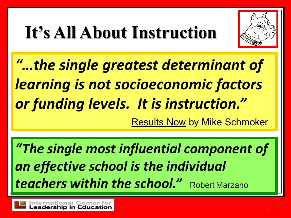 44 The single most influential component of an effective school is the individual teachers within the school. Robert Marzano …the single greatest dete