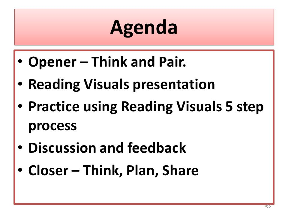 Agenda Opener – Think and Pair. Reading Visuals presentation Practice using Reading Visuals 5 step process Discussion and feedback Closer – Think, Pla