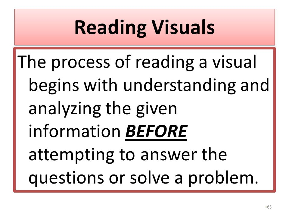 Reading Visuals The process of reading a visual begins with understanding and analyzing the given information BEFORE attempting to answer the question