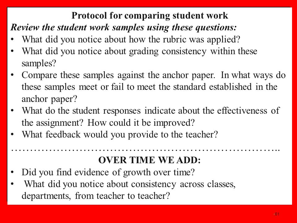 81 Protocol for comparing student work Review the student work samples using these questions: What did you notice about how the rubric was applied? Wh