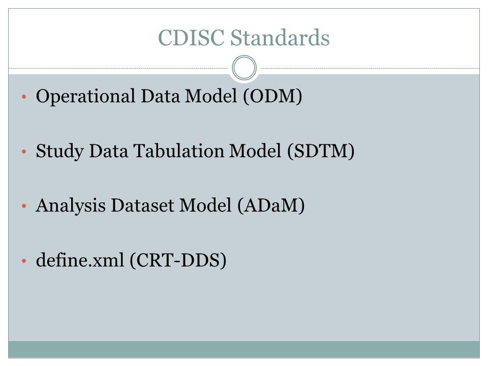 CDISC Standards Operational Data Model (ODM) Study Data Tabulation Model (SDTM) Analysis Dataset Model (ADaM) define.xml (CRT-DDS)