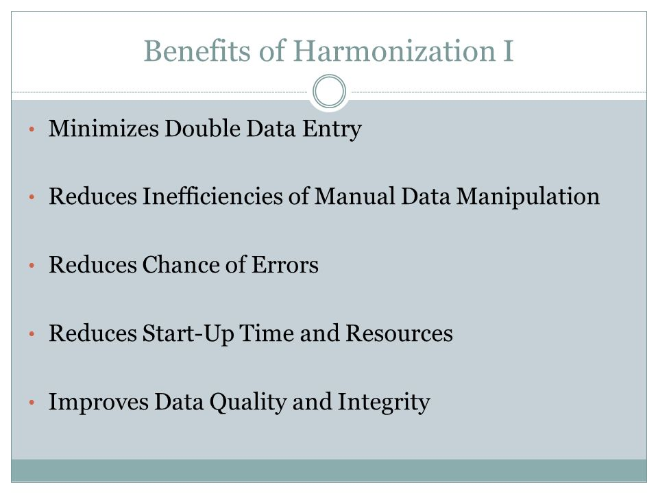 Benefits of Harmonization I Minimizes Double Data Entry Reduces Inefficiencies of Manual Data Manipulation Reduces Chance of Errors Reduces Start-Up Time and Resources Improves Data Quality and Integrity
