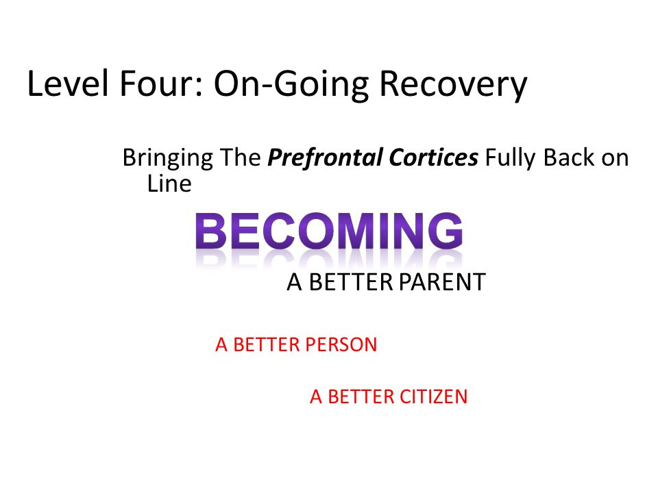 Level Four: On-Going Recovery Bringing The Prefrontal Cortices Fully Back on Line A BETTER PARENT A BETTER PERSON A BETTER CITIZEN