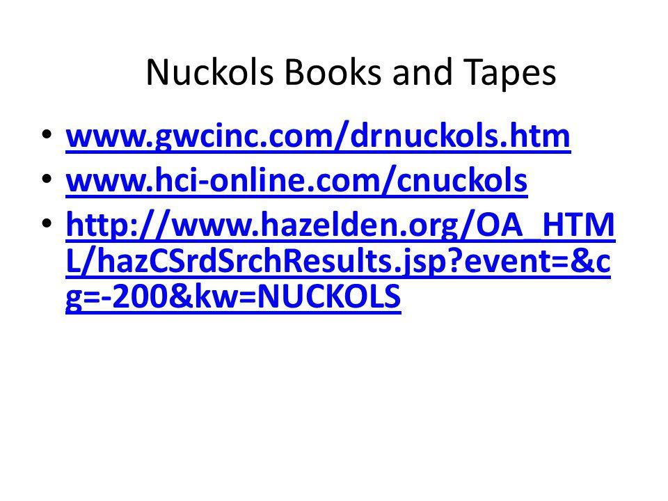 Nuckols Books and Tapes www.gwcinc.com/drnuckols.htm www.hci-online.com/cnuckols http://www.hazelden.org/OA_HTM L/hazCSrdSrchResults.jsp?event=&c g=-2
