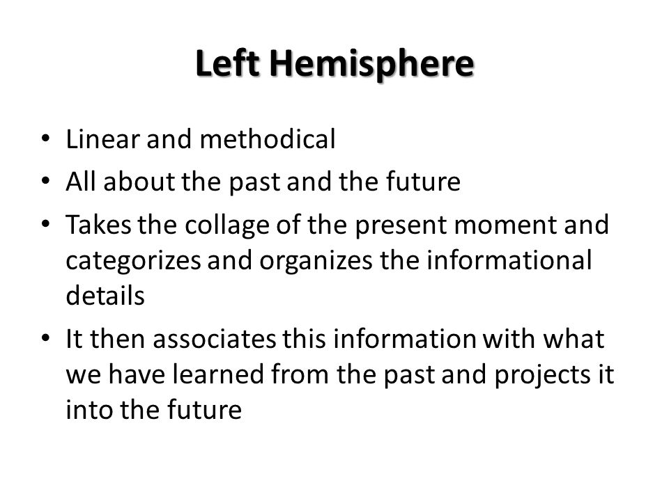 Left Hemisphere Linear and methodical All about the past and the future Takes the collage of the present moment and categorizes and organizes the info