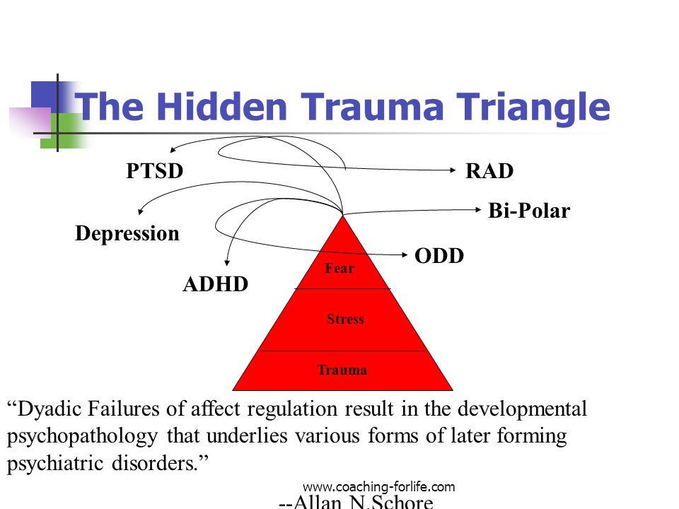 Trauma Stress Fear RAD ODD ADHD PTSD Bi-Polar Depression Dyadic Failures of affect regulation result in the developmental psychopathology that underli