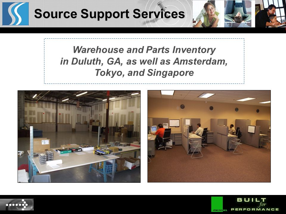 Warehouse and Parts Inventory in Duluth, GA, as well as Amsterdam, Tokyo, and Singapore Source Support Services
