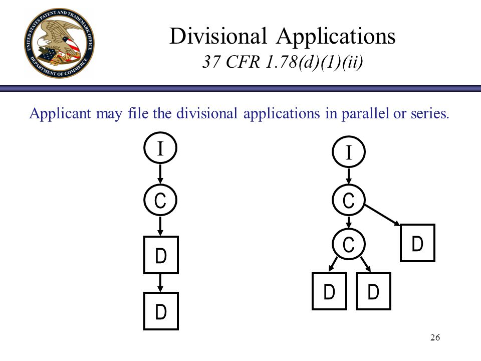 26 Divisional Applications 37 CFR 1.78(d)(1)(ii) I C C I C D D DD D Applicant may file the divisional applications in parallel or series.