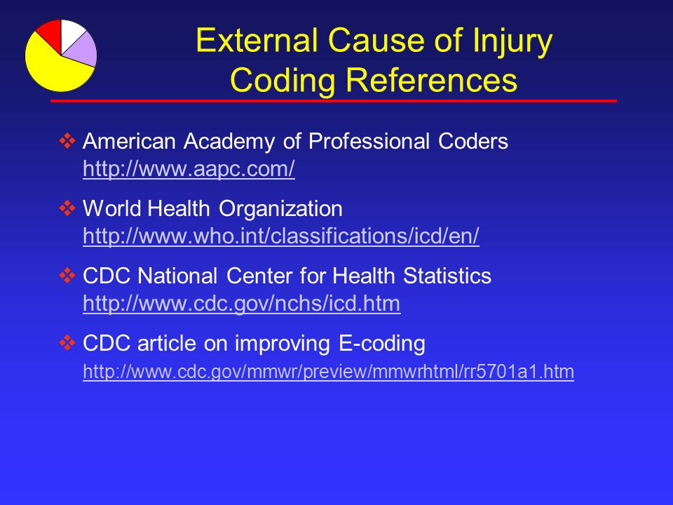 External Cause of Injury Coding References American Academy of Professional Coders http://www.aapc.com/ World Health Organization http://www.who.int/classifications/icd/en/ CDC National Center for Health Statistics http://www.cdc.gov/nchs/icd.htm CDC article on improving E-coding http://www.cdc.gov/mmwr/preview/mmwrhtml/rr5701a1.htm