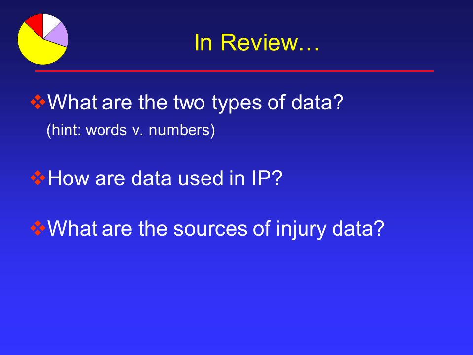 In Review… What are the two types of data. (hint: words v.