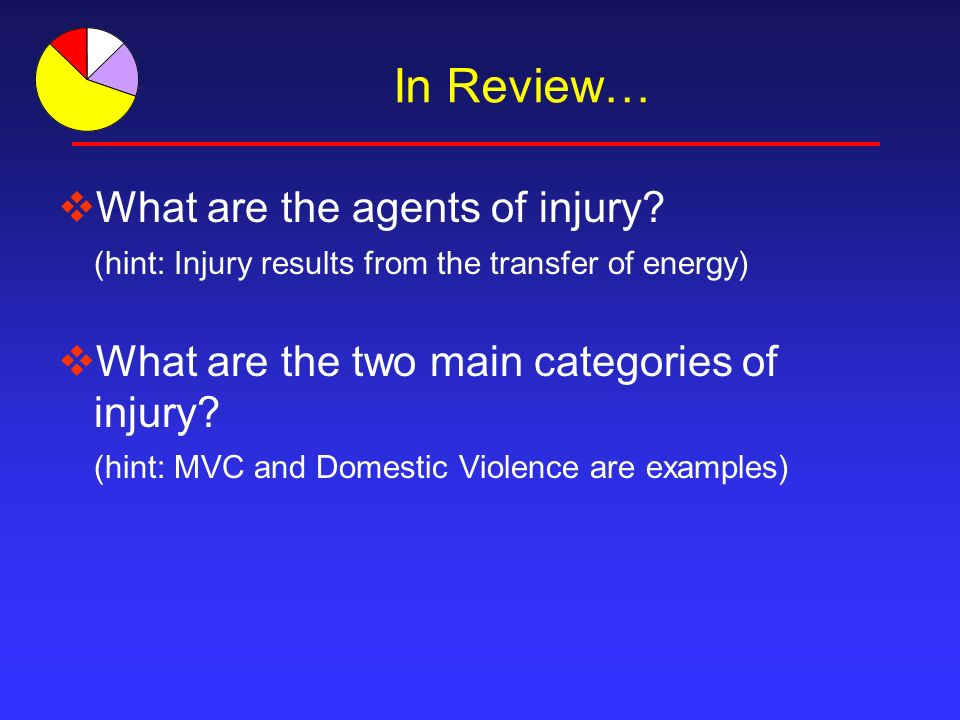 In Review… What are the agents of injury.